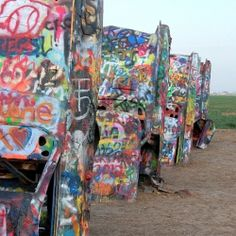 'Cadillac Ranch': a unique, outdoor interactive art installation on the outskirts of Amarillo Texas. Part of a 21 hour exploration of Amarillo's Local Food and off-the-beaten-path sights.