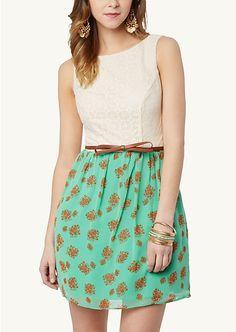 Bow Belt Lace Floral Dress   Dresses   rue21