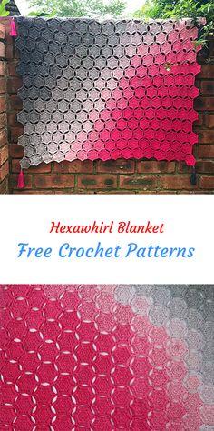 Hexawhirl Blanket Free Crochet Pattern #crochet #homedecor #crafts