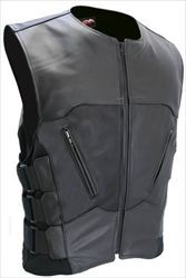 This SWAT Style Tactical Motorcycle Vest is the newest version of the bulletproof style leather vests from Hillside USA. Two front cross-draw zippered pockets, triple side straps over heavy spandex side panels for styling and additional size adjustment. Lined with a breathable nylon mesh fabric to allow them to be worn in both cool and warm weather. The Interceptor Bulletproof Leather Vest is a vest of outstanding quality and style, backed with Hillside USA's Lifetime Guarantee.