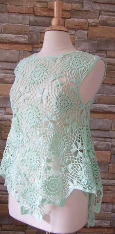 Crocheted summer cotton top/blouse
