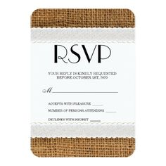 Jute and Lace RSVP Cards