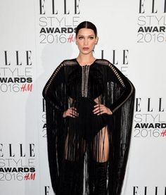 Bella Hadid with slicked back hair at the Elle Style Awards