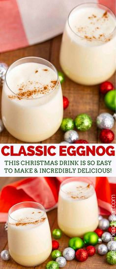 Eggnog is a rich and creamy holiday drink made with cinnamon, nutmeg, vanilla, and bourbon. It& EASY to make and the perfect treat to serve on Christmas eve! Eggnog Cocktail, Eggnog Drinks, Christmas Cocktails, Holiday Cocktails, Easy Christmas Treats, Christmas Eve, Holiday Recipes, Dinner Recipes, Yule