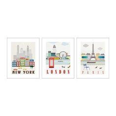 "IKEA Poster Set of 3 16x20"" New York London Paris New   eBay"