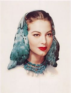 Ava Gardner movie star fashion icon vintage feather hat headdress 40s era