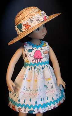 "Seashore Dress & Hat fits 13"" Little Darling by Dianna Effner"