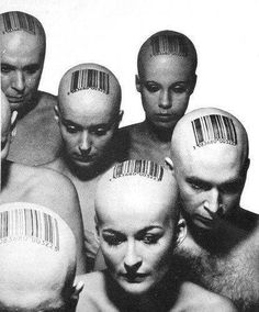 What can this group portrait symbolize? Individual identity shaped by consumerism? A technological future, where there is no limit to what can be learned about a particular individual based on the available record of their interactions with technology? Mind control? Etc. According to the reader-response theory, as a reader/viewer, your choice/impression is the only answer.