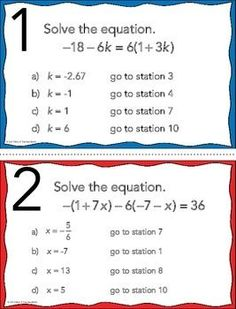 FREE Solving Multi-Step Equations Stations Maze Activity by Mrs E Teaches Math Teaching Secondary, Secondary Math, Teaching Math, Teaching Aids, Math Teacher, Math Classroom, Math 8, Math Fractions, Algebra Activities