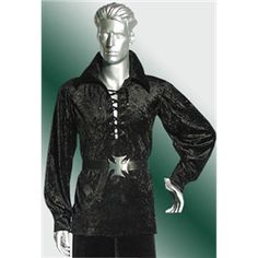 Velour Vampire Shirt - MCI-276 by Medieval Collectibles One of each: Red, Green, Black $55