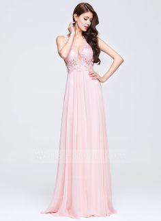 A-Line/Princess V-neck Sweep Train Appliques Lace Zipper Up Regular Straps Sleeveless No 2016 Blushing Pink Spring Summer General Plus Chiffon Prom Dress