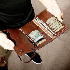 Ekphero Men Trifold Long Wallet Card Holder Clutch Bag sales at a wholesale price. Come to Newchic to buy a wallet, more cheap wallets for man are provided online Mobile. Small Case, Pocket Cards, Leather Pattern, Casual Boots, Moleskine, Long Wallet, Card Wallet, Vintage Men, Clutch Bag