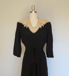 30s beaded dress size small / Raven's Song by SwanSongVintage1