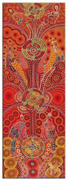 Dreamtime Ladies, Kathleen Wallace ---- Ce tableau présente une face traditionnelle du psychédélique, en abordant le Temps du Rêve des Aborigènes australiens. Cette piste peut se traduire par l'utilisation de LEDs dessinant des motifs aux murs du théâtre. J'y vois une occasion d'interroger le rapport au public : une telle installation, sur les murs de la salle, vient gêner la perception du spectateur en encombrant sa vision périphérique, voilant ainsi la totalité de l'image qu'il reçoit.