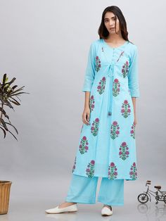 Buy Blue Pink Block Printed Cotton Mulmul Jacket Kurta with Palazzo - Set of 2 online at Theloom