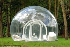 "For those who are planning to unwind among nature during the holiday season, French designer Pierre Stephane Dumas has designed a series of luxury tents  ""BubbleTree"" for a fun-filled camping experience. The inflatable bubble tents are decked out with wardrobes, sofas and electric lights for a comfortable stay.And, the series feature CristalBubble, a completely transparent tent for the exhibitionists, while ""Cocooning"" is the version for those who seek privacy."