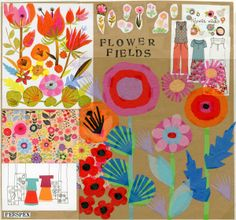 Mood board with mid century style paper cut flowers by Seasalt window team.