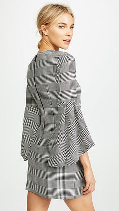 Thym Trumpet Sleeve Dress by Alice + Olivia in Black/White - Striped Long Sleeve Shirt, Long Sleeve Tops, Sleeves Designs For Dresses, Dresses With Sleeves, 15 Dresses, Casual Dresses, Ankara Gown Styles, Foto Fashion, Dress Patterns
