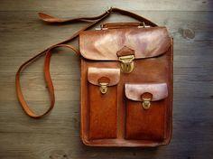 Leather messenger bag.