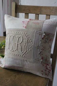 Lovely cushion from vintage and new linens