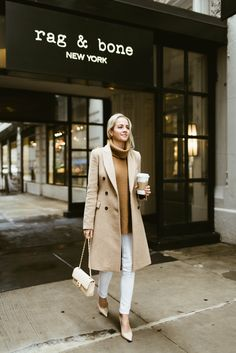 Rag & Bone Denim, White Denim, Camel Coat, Spring Style