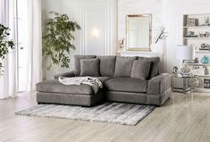 """SM9111 2 pc Canora grey Ainsley charcoal gray chenille fabric sectional sofa with chaise. This set features a chenille fabric upholstery with large arms and pillow backs. Sectional measures 99"""" x 77"""" L x 32"""" H . 23"""" seat depth, 21"""" seat height. Some assembly may be required."""