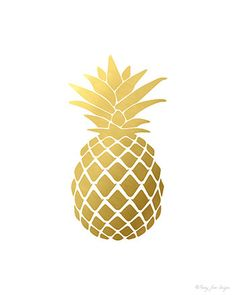 Pineapple Print Gold Pineapple Print Pineapple by PennyJaneDesign