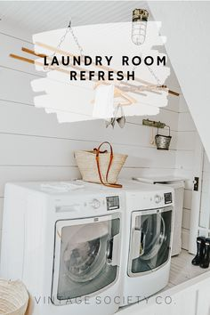 Laundry rooms need to be both practical and functional, but what about beautiful? Here are 5 quick tips to refresh your laundry room decor!#laundryroom #smallspacelaundryroom #laundryrefresh #laundryroomrefresh #laundryroomdecor #myvintagesociety Rustic Laundry Rooms, Laundry Room Organization, Laundry Room Design, Laundry Room Inspiration, Home Decor Inspiration, Decor Ideas, Design Your Dream House, Small Space, Mud