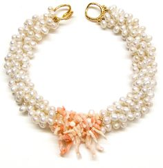Helga Wagner Fresh Water Pearls with pink Branch Coral and tiffany clasp.