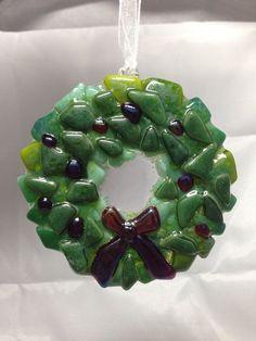 Fused Glass Christmas Wreath Ornament