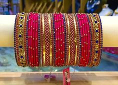 Love the combo. Silk Thread Bangles Design, Silk Thread Necklace, Silk Bangles, Bridal Bangles, Thread Jewellery, Bridal Jewelry, Bridal Accessories, Chuda Bangles, Indian Wedding Jewelry