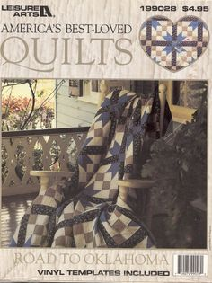 """Vintage Crafts Road to Oklahoma Quilt Pattern 1993 Leisure Arts --America's best-loved quilts, Road to Oklahoma, was published by Leisure Arts in their leaflet 199028.  The vinyl templates are included to reduce the work to make your templates with instructions included. The finished size for the block is 9-1/2"""" by 9-1/2"""" and for the quilt 98-1/2"""" by 98-1/2"""".  by NookCove, $9.00"""
