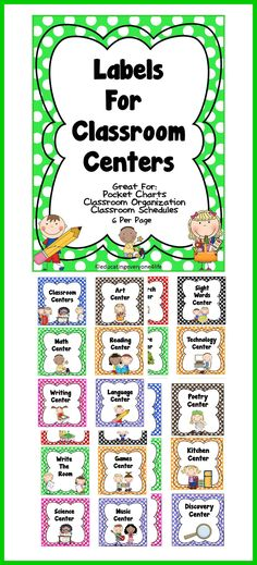 Labels For The Classroom:  Centers Great for pocket charts, schedules, and classroom organization -  #tpt #classroom #labels
