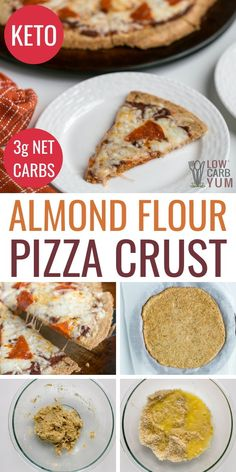 An easy low carb pizza crust made with almond flour. It's the perfect base for any keto pizza. An easy low carb pizza crust made with almond flour. It's the perfect base for any keto pizza. Low Carb Pizza, Low Carb Bread, Keto Bread, Low Carb Keto, Keto Pizza Base, Keto Pizza Crust Recipe, Diabetic Bread, No Carb Recipes, Cooking Recipes