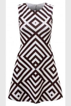 Κλος φόρεμα με γεωμετρικά σχέδια - Μαύρο Άσπρο