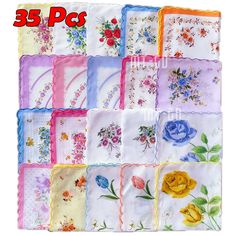 35 pcs Cotton Gauze Muslin Square Lovely Flower Pattern Handkerchief Towel Affordable