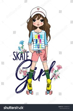 Find Cute Girl Fashion stock images in HD and millions of other royalty-free stock photos, illustrations and vectors in the Shutterstock collection. Cartoon Photo, Cute Cartoon Girl, Cute Love Cartoons, Boys Clothes Style, Girls Fashion Clothes, Girl Fashion, Cute Girl Pic, Cute Girls, Roller Skating Pictures