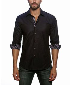 Navy & Black Plaid Contrast Button-Up by Jared Lang #zulily #zulilyfinds