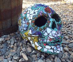 Sugar Skull Lamp, Day of the Dead Skull, Gothic Skull, Mosaic Sugar Skull, Home Decor, Halloween Skull