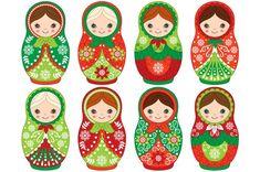 Vector Christmas Matryoshka Set by Tanita_B on @creativemarket