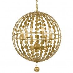 Crystorama Layla 6 Light Antique Gold Chandelier