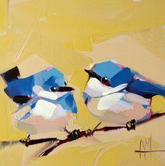 Two Cerulean Warblers no. 12 original bird oil by prattcreekart