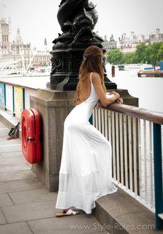 Vicky Bouzouni wearing ckontova white open back dress www.Style-Rules.com