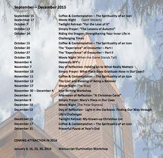Basilian Spirituality Center Program and Events; Late 2015 Jenkintown PA