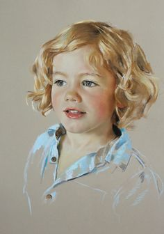 Child portrait, pastel on Canson paper, floating head