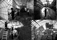 eko prawoto pitches wormhole with conical bamboo structures