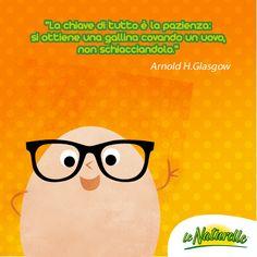 """""""La chiave di tutto è la pazienza: si ottiene una gallina covando un uovo, non schiacciandolo.""""  Arnold H.Glasgow  #UovoQuotes #Quote #Egg #Citation #wise"""