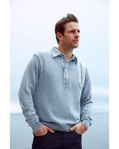 This Blue Willi's Classic Sky Blue Sweater will always be a favourite. cotton, it is machine washable (like all core Blue Willi's products). Tumble dry - no expensive dry cleaning bills. Blue Sweater Mens, Polo Sweater, Sweater Coats, Blue Sweaters, Irish Fashion, Mens Fashion, Classic Man, Danish Design, Knitting Designs