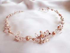headband mariage inspiration rétro en cristal or rose