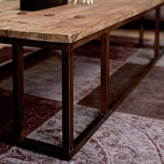 lifestyle Luxe Elm Industrial Reclaimed Wood Large Square Coffee Table - Modsih Living Reclaimed wood coffee table